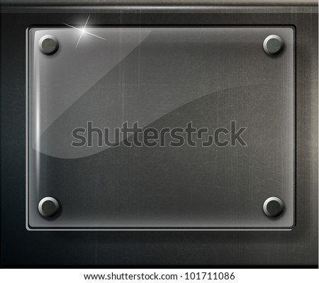 abstract black glossy plate on metal grid - vector version in portfolio