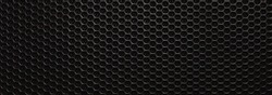 Abstract black metallic mesh texture for background. Industrial backdrop. The speaker of a musical column. Panoramic horizontal high-resolution photography. Design element. Close up. Copy space.