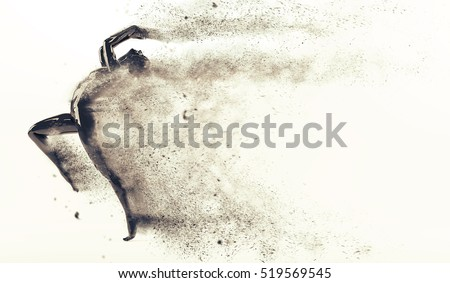 Abstract black plastic human body mannequin figure with scattering particles over white background. Action running and jumping pose. 3D rendering illustration