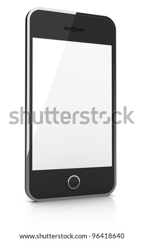 Abstract black smartphone isolated on white background.