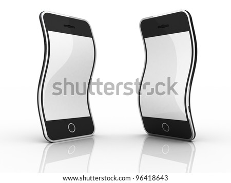 Abstract black smartphones isolated on white background.
