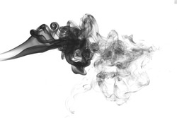Abstract black smoke isolated on white background