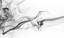 Abstract black smoke on white background, fire design