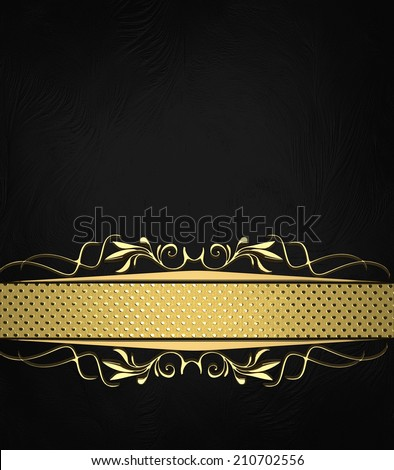 Abstract black texture with black ribbon with gold pattern. Design template. Design site