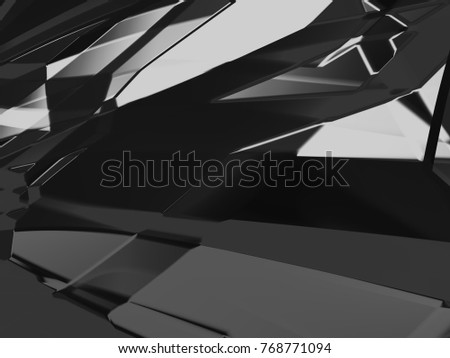 Abstract black white and gray Gradient polygon triangle pattern background. 3d render illustration.