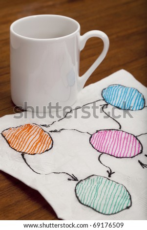 abstract blank flowchart or mind map - napkin doodle with espresso coffee cup on wooden table