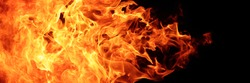abstract blaze fire flame texture for banner background, 3 x 1 ratio