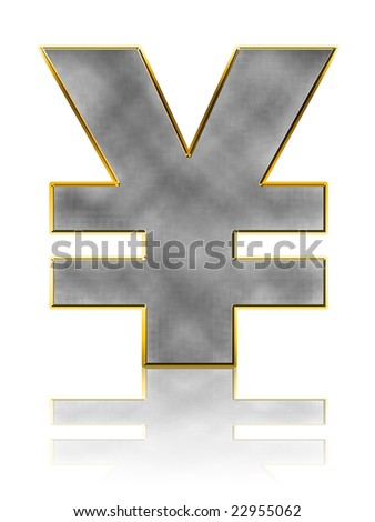 Abstract Bling Yen Symbol on white with reflection