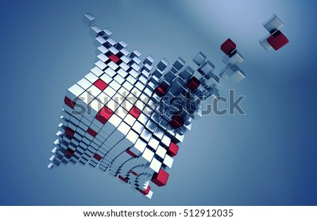 Abstract block of cubes - 3D illustration