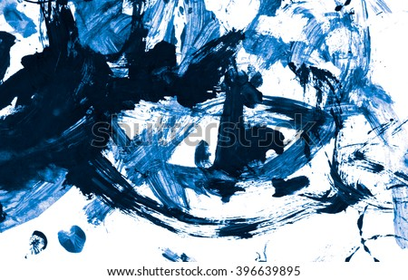 Abstract blue acrylic paint brush isolated on white background, top view. #396639895