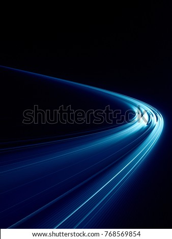 Abstract blue and black background texture. Dynamic curves ands blurs pattern. Detailed fractal graphics. Science and technology concept.