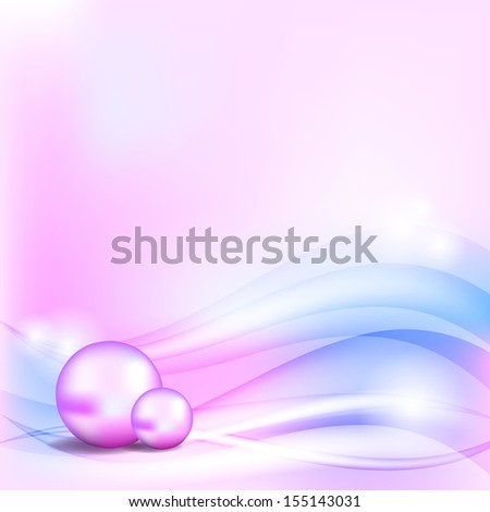 Abstract blue and pink background with two pearls