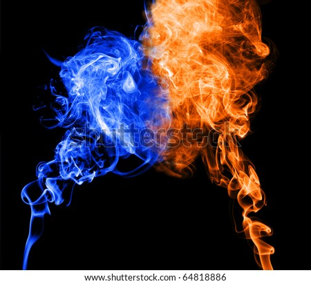Abstract blue and red smoke puff join into heart shape, symbol of cold and warm character of love.