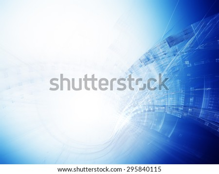 Abstract blue and white background design. Detailed computer graphics.