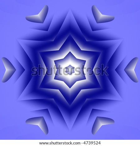 abstract blue and white six pointed star - stock photo