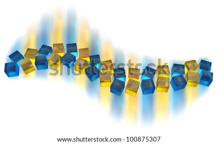 abstract blue and yellow cubes moving as a wave