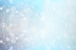abstract blue background snow snowflakes, new year, glow design