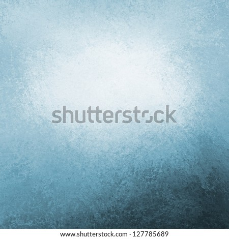 abstract blue background white cloud in sky concept or white center color splash for text blended into sky blue color with black bottom border, vintage grunge background texture design layout for web