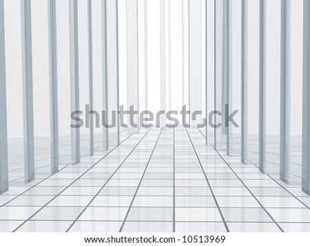 Abstract blue background with columns and a tiled floor
