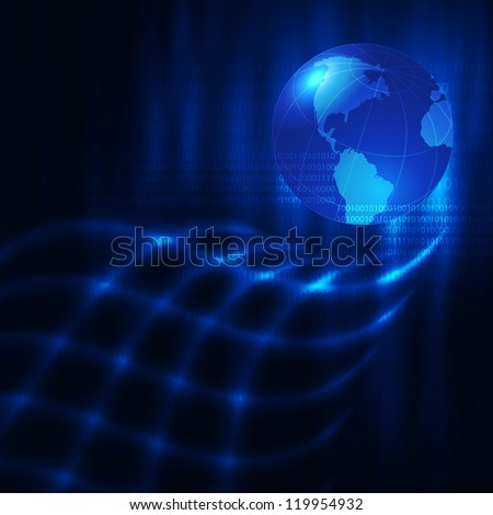 Abstract blue background with earth. Glowing grid. Raster version of the loaded vector.