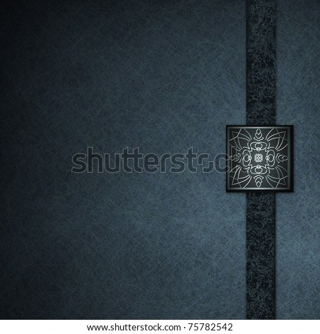 abstract blue background with elegant embossed seal, old grunge vintage background texture, graphic art layout design with copy space, and formal dark blue ribbon stripe - stock photo