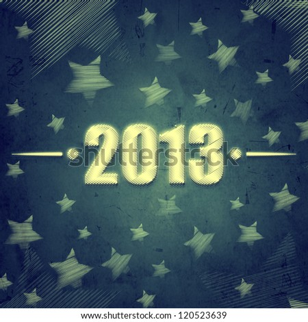 abstract blue background with figures year 2013 and illustrated striped stars, retro style card