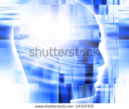 Abstract blue background with integrated human head