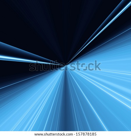 Abstract blue background with light lines concentric going into a point