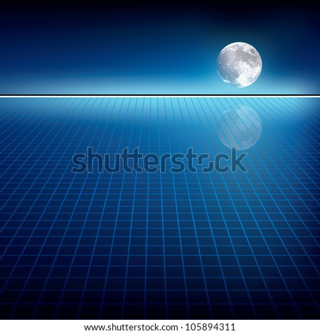abstract blue background with moon and horizon