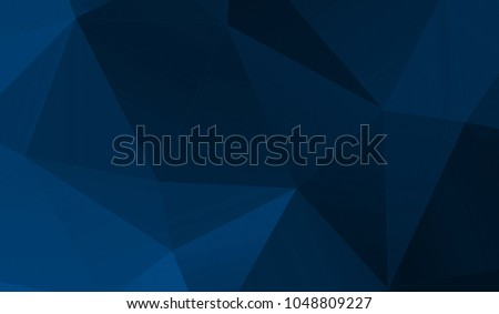 Abstract blue black polygon triangle pattern gradient background. 3d render illustration.