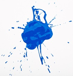 Abstract blue blot background with splashes on white