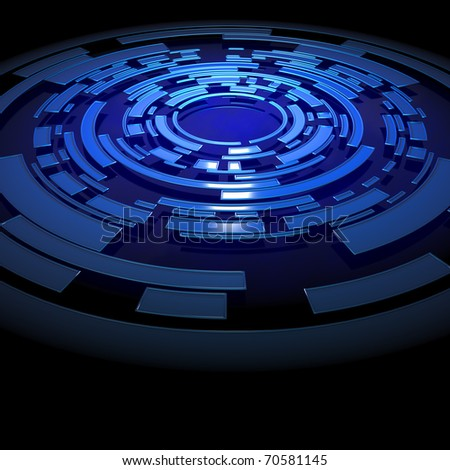 Abstract blue circular structure