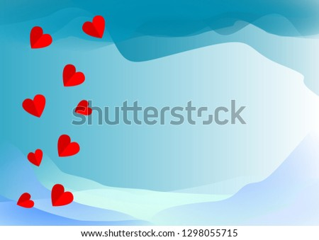 abstract blue color background with heart #1298055715