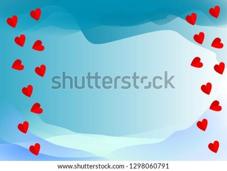 abstract blue color background with heart #1298060791