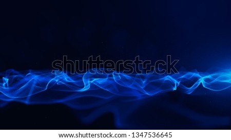 Abstract Blue Color Digital Particles With Bokeh and Light Background #1347536645