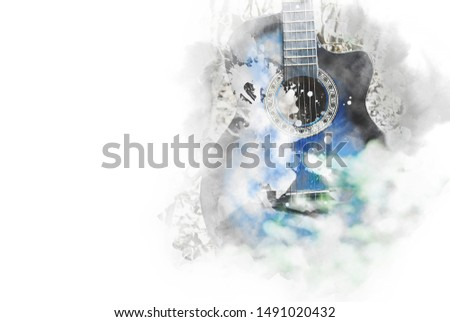 Abstract blue colorful on acoustic guitar on watercolor illustration painting background.