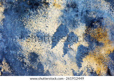 Abstract blue concrete, weathered with cracks and scratches. Landscape style. Grungy Concrete Surface. Great background or texture.