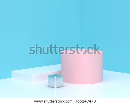abstract blue corner scene cylinder podium 3d rendering