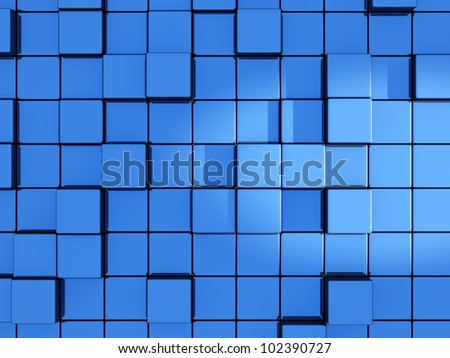 Abstract blue cubes background - 3d render