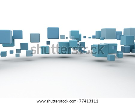Abstract blue cubes flow - stock photo