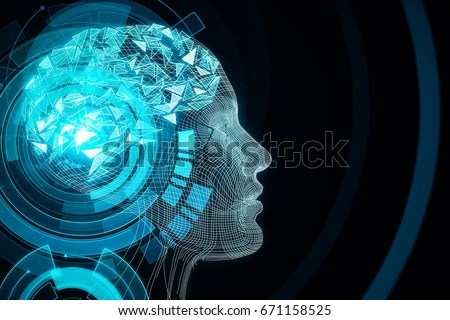 Abstract blue digital human profile on dark background. Robotics concept. 3D Rendering
