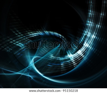 Abstract blue element on black background