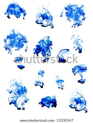 abstract blue fluid on white