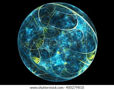 Abstract blue fractal planet, digital artwork for creative graphic design