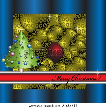 Abstract blue frame with red banner small christmas tree for Red and yellow christmas tree