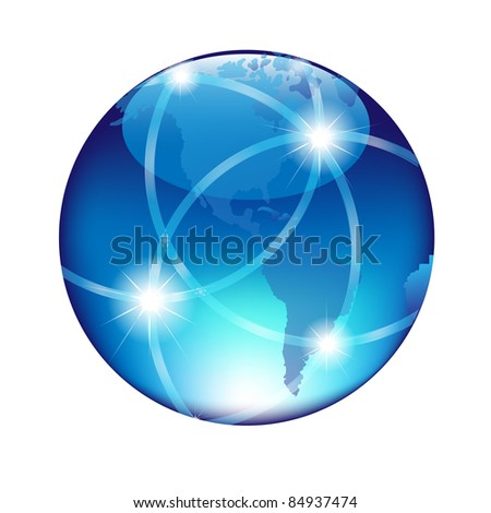 Abstract Blue Globe, Isolated On White Background