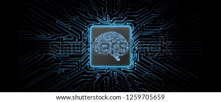 Abstract blue glowing circuit board background with brain logo at center. Perfect for Artificial Intelligence, smart chip Technology, Crypto Currency concept. Deep machine learning