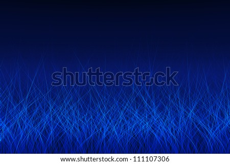 Abstract blue glowing lines, like a grass. Luminosity effect.