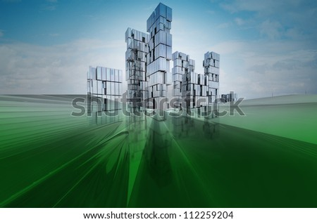 Abstract blue green future business cityscape design concept render illustration