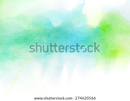 Abstract blue green watercolor background.